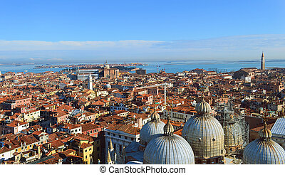 St. Mark's Cathedral in Venice  from above with city roofs