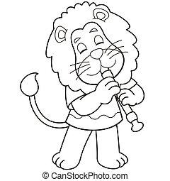 Cartoon Lion Playing an Oboe - Cartoon lion playing an...