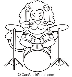 Cartoon Lion Playing Drums - Cartoon lion playing...