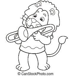 Cartoon Lion Playing a Trombone - Cartoon lion playing a...