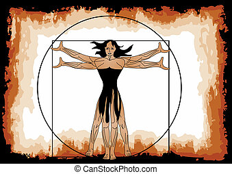 The Vitruvian woman. Female figure in a square and circle
