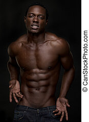 Sexy, norteamericano, africano, hombre