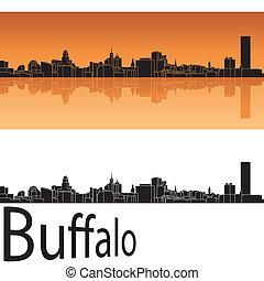 Buffalo skyline in orange background in editable vector file