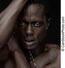 água, gotejando, BAIXO, rosto