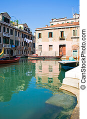 Venice canal - A typical canal in Venice in summer