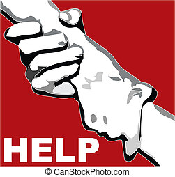 CLASPED HAND FOR HELP - abstract illustration with text