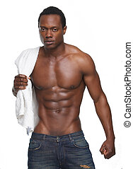Muscular African American Man with No Shirt - Portrait of a...