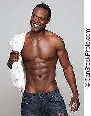 Sexy, norteamericano, africano, sonriente, hombre
