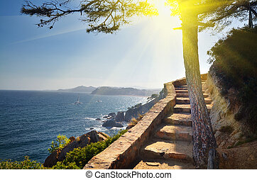 View of beach Spain vacation nature background - View of...
