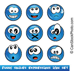 Funny Smiles Collection - Colorful Set of Funny Smiles with...