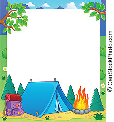 Camping theme frame 1 - vector illustration.