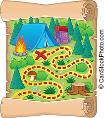 Camping theme map image 1 - vector illustration.