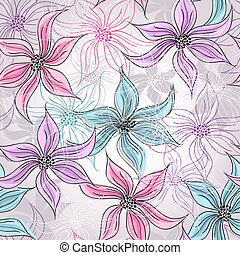 Seamless spring floral pattern - Seamless silvery floral...