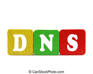 dns - isolated text in wooden building blocks