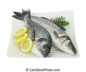 Świeży, Ryby, cytryna, zioła, płyta, odizolowany, biały