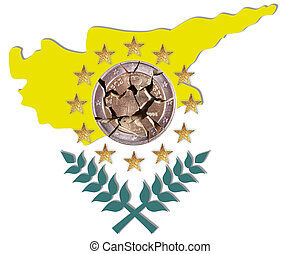 flag of Cyprus - A flag of Cyprus with a Euro coin