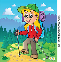 Image with hiking theme 2 - vector illustration.