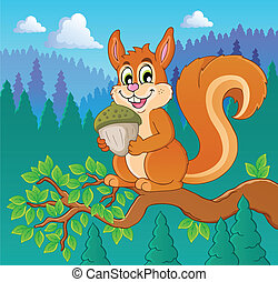 Image with squirrel theme 2 - vector illustration.