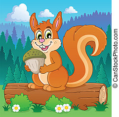 Image with squirrel theme 3 - vector illustration.