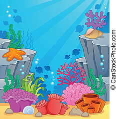 Image with undersea topic 3 - vector illustration