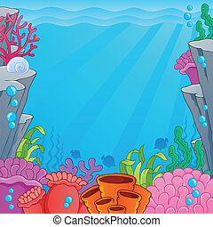 Image with undersea topic 4 - vector illustration.