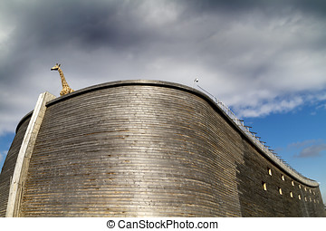 Close up of Noahrsquo;s Ark and giraffe - Close up of full...