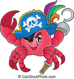 Pirate crab theme image 1 - vector illustration