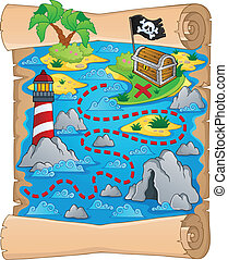 Treasure map theme image 5 - vector illustration