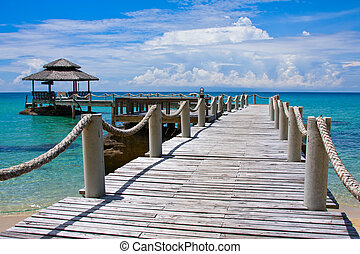 Wooden pier, Thailand. - Beautiful tropical beach in Koh...