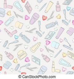 Cosmetics and beauty care - Seamless background pattern of...