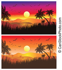 Tropical Desert Sunset - Landscape of Tropical Sunset with...