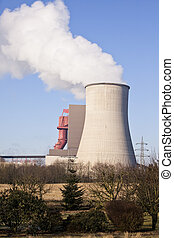 cooling tower from a coal burning power plant