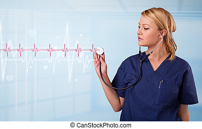 Pretty medical doktor listening to red pulse and heart rates...