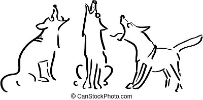 Three howling dogs, black and white illustration
