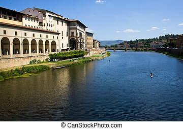 Arno river - The view of Arno from ponte vecchio in...