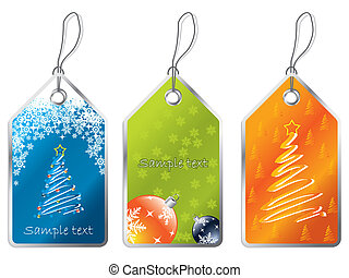 Christmas labels 2 - Christmas label set with snowlafes...