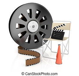 filmmaking concept isolated on white. 3d rendered image