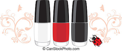 Three nail polish and ladybird with ornamental sprigs Vector...