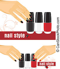 Female hands and bright nail polish - Female hands with...