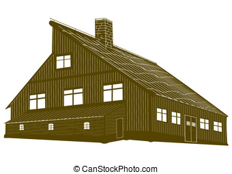 Mountain hostel. - Silhouette of a wooden mountain lodge in...