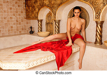 naked woman in turkish bath
