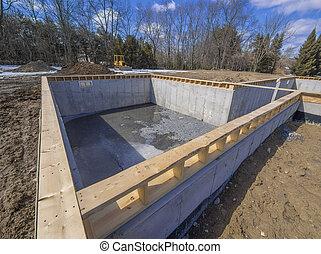 Novo, casa, fundação, construção