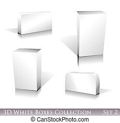 White Boxes Icon Set - Three dimensional Boxes Icon set with...