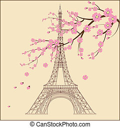 Vector illustration of Eiffel tower