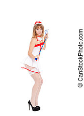 sexy nurse - Sexy nurse stockings high heels isolated over...