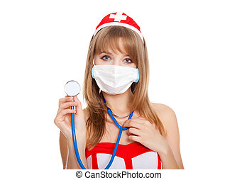 sexy nurse - Sexy nurse face mask stethoscope isolated over...