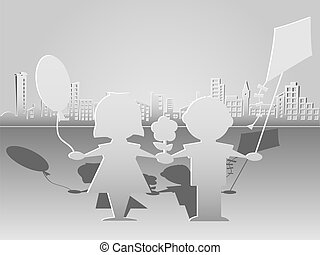 Children and the megalopolis - Cut paper silhouettes of...