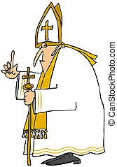 Pope in white - This illustration depicts a Catholic Pope...