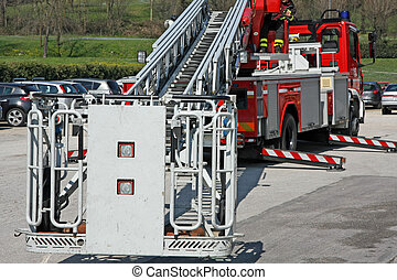 fire truck with the stowed ready to get firefighters