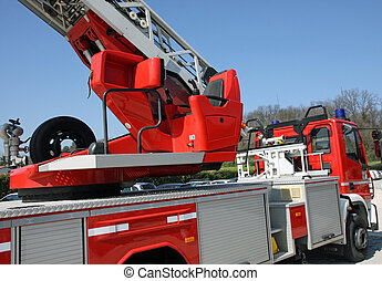 cabin with a command console fire trucks to manoeuvre the...